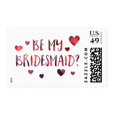 be my bridesmaid bokeh postage stamps