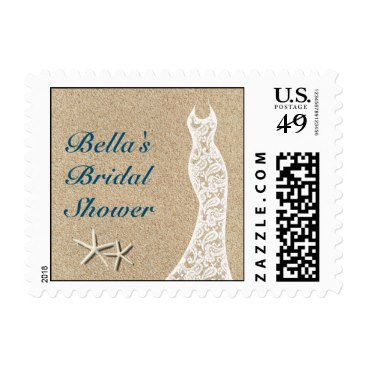 Beautiful Beach Bridal Shower Stamp in Turquoise