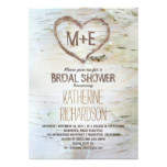 Birch tree heart rustic bridal shower invites