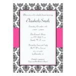 Black and Pink Damask Bridal Shower Invitation