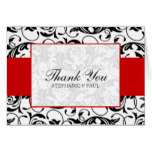 Black and Red Damask Wedding Thank You Card