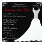 Black and Red Wedding Gown Bridal Shower Card