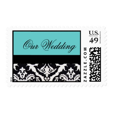 Black and White Damask Wedding with Turquoise Stamp