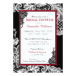 Black Red and White Lace Bridal Shower Card