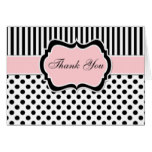Black, White, Blush Pink Thank You Card