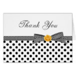 Black white polka dot rose Thank You Card