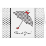 Black & White Shower Umbrella Thank You Note Card