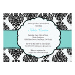Blue Bridal Shower Invitations Damask