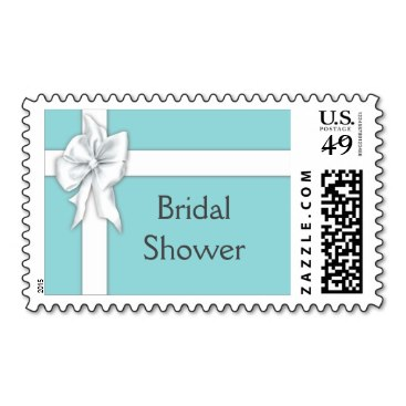 Blue Gift Box Bridal Shower Stamps