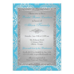Blue, Silver Glitter Damask Bridal Shower Invite