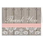 Blush Pink Wood Lace Rustic Thank You Card
