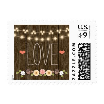 Blush String of Lights Rustic Fall Love Wedding Postage Stamps