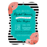 Bridal or Baby Shower Invitaion - Bold Stripe Teal Card