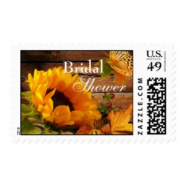 Bridal Shower Postage, Rustic Country Sunflower Postage