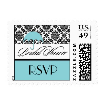 Bridal Shower Postage Stamps in Aqua Damask
