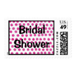 Bridal Shower stamp with pink polka dots