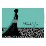 Bridal Shower Thank You Cards in Teal and Black