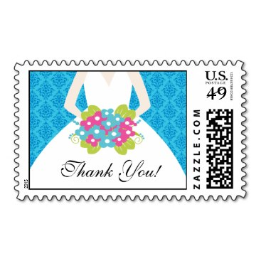 Bride Thank You Bridal Shower Postage Damask Blue