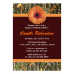 Brown and Orange Daisy Bridal Shower Invitation