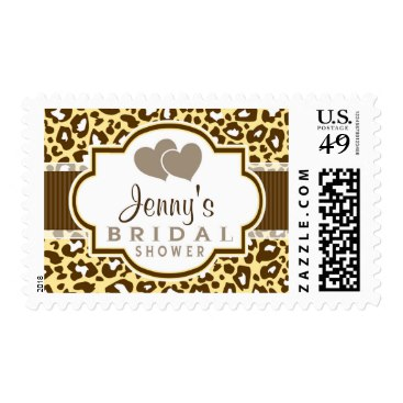 Brown, Yellow Leopard Animal Print Bridal Shower Stamp