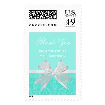 Chic Bridal Shower Thank You Aqua Damask White Bow Stamps