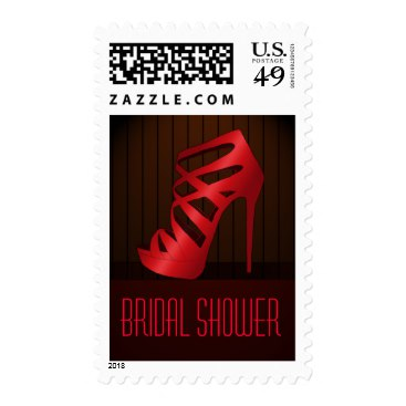 Chic Glam Red High Heel Shoe Bridal Shower Postage Stamps