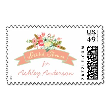 Coral Rustic Flowers | Bridal Shower Postage Stamp