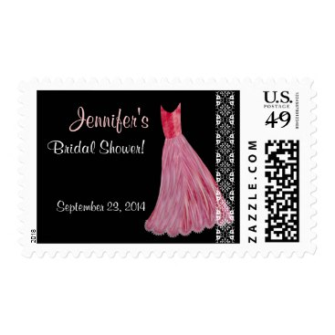 Customizable Bridal Shower Stamp - RED Dress