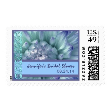 Customized Blue & Periwinkle Flower Bridal Shower Postage Stamp