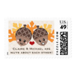 Cute and Funny Acorn Nuts About Each Other Postage Stamp