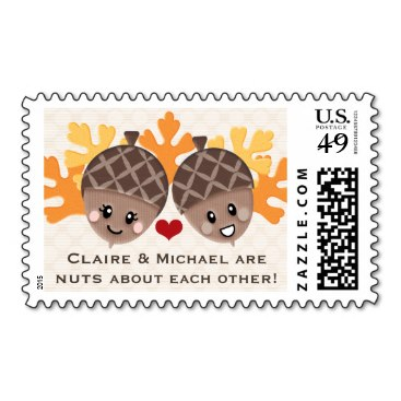 Cute and Funny Acorn Nuts About Each Other Stamp
