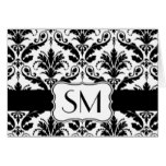 Damask black white Monogrammed  Thank you Card