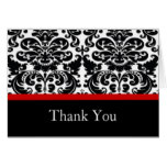 Damask Red Thank You Note Card