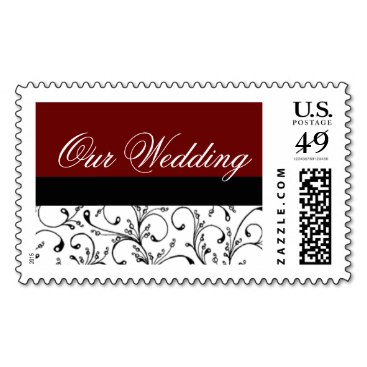 Damask Wedding Stamps Red and Black