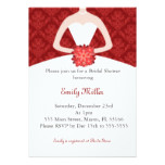 Dress Invitation Bridal Shower Red Damask