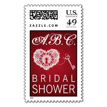 Elegant Bridal Shower Key To My Heart Red Stamp