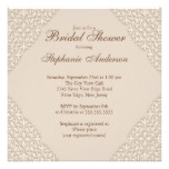 Elegant Brown Damask Bridal Shower Invitation
