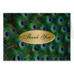 elegant gold peacock Thank you Card