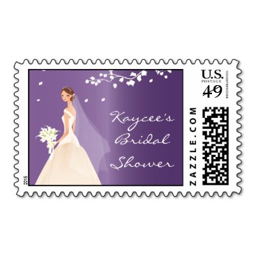 elegant purple bride bridal shower stamps