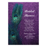 Elegant Teal Blue and Purple Peacock Bridal Shower Card