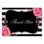 Floral Black And White Striped Wedding Thank You Card