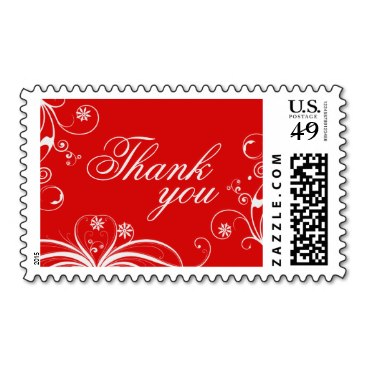 Flourish Red Thank You Postage Stamps