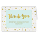 Gold Confetti Light Blue Bridal Shower Thank You Card