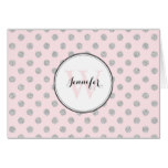 Gray and Pink Polka Dots Pattern Monogram Card