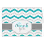 Gray & Turquoise Chevron Trendy Thank You Cards