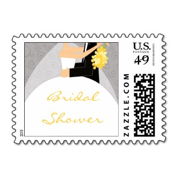 Grey and Yellow Bridal Shower Postage Stamps