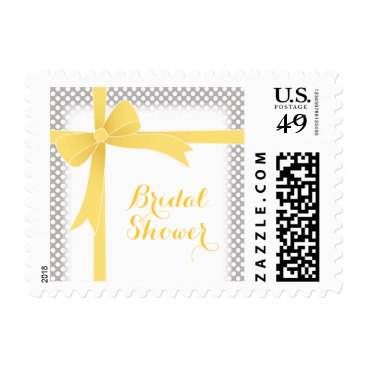 Grey with Yellow Bow & White Dots Bridal Shower Stamps
