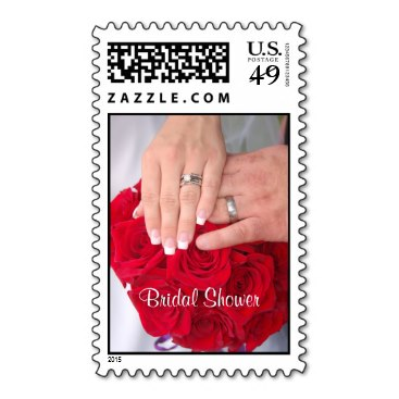 Hands on Red Rose Bouquet - Bridal Shower Postage