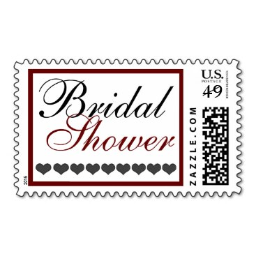 Hearts, Fancy Bridal Shower, Red and Black Stamps
