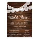 Lace and wood Rustic Bridal Shower Invitation III